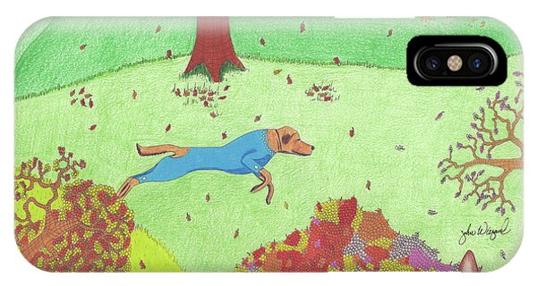 IPhone Case featuring the drawing Falling Leaves by John Wiegand