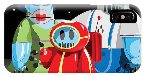 Shadow iPhone Case - Family Of Moon Robots by Willdidthis