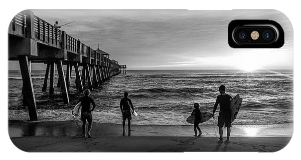 iPhone Case - Family Surfing In Black And White by Debra and Dave Vanderlaan