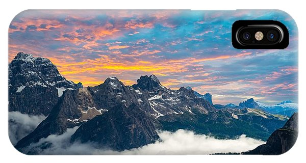 Red Sky iPhone X Case - Famous Italian National Park Tre Cime by Scorpp