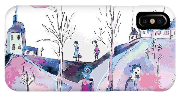 Fairytales iPhone Case - Fantastic Landscape With Sad People And by Tetyana Snezhyk