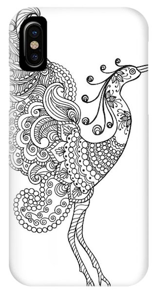 White Background iPhone Case - Fantasy Bird. Black White Hand Drawn by Palomita