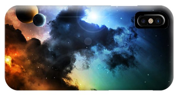Violet iPhone Case - Fantasy Deep Space Nebula With Planet by Homeart