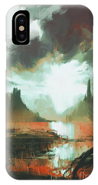 Fairy iPhone Case - Fantasy Landscape Of Mystic Red Swamp by Tithi Luadthong