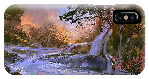 River Flow iPhone Case - Fantasy Landscape With Beautiful by Tithi Luadthong