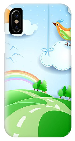 Cute Bird iPhone Case - Fantasy Landscape With Bird, Vector by Luisa Venturoli