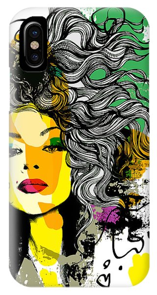 Red Hair iPhone X Case - Fashion Print Sketch With A Model by Alisa Franz