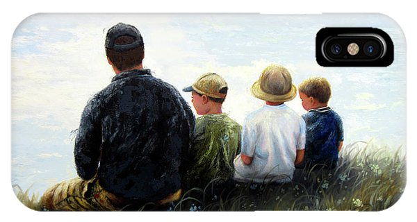 My Son iPhone Case - Father Three Sons By Lake by Vickie Wade
