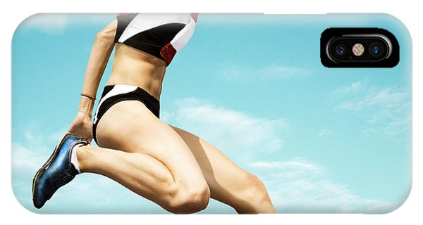 Track iPhone Case - Female Hurdle Runner Leaping Over The by Mezzotint