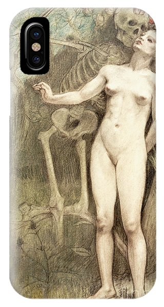 Bone iPhone Case - Female Nude With Death As A Skeleton, 1897  by Armand Rassenfosse