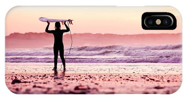 Surfboard iPhone Case - Female Surfer On The Beach At The Sunset by Iko