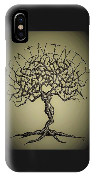 IPhone Case featuring the drawing Femininity Love Tree B/w by Aaron Bombalicki