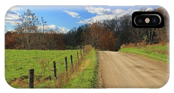 IPhone Case featuring the photograph Fence And Country Road by Angela Murdock