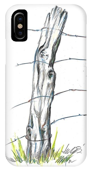 Fence Post Colored Pencil Sketch  IPhone Case