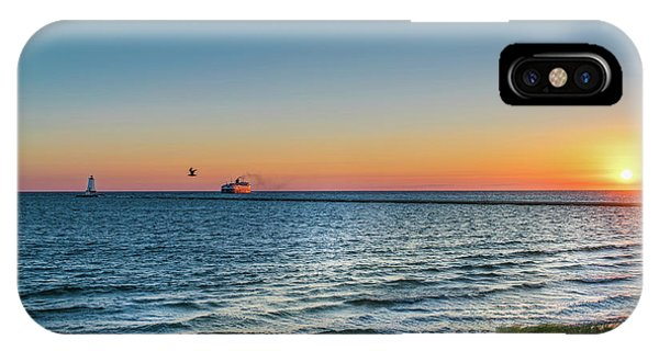 IPhone Case featuring the photograph Ferry Going Into Sunset by Lester Plank