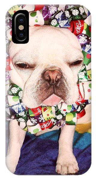 French Bull Dog iPhone Case - Festive Frenchie by Barbra Telfer