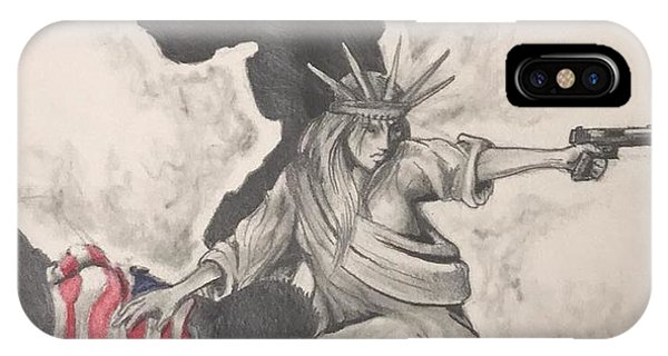 Red iPhone X Case - Fighting For Liberty  by Howard King