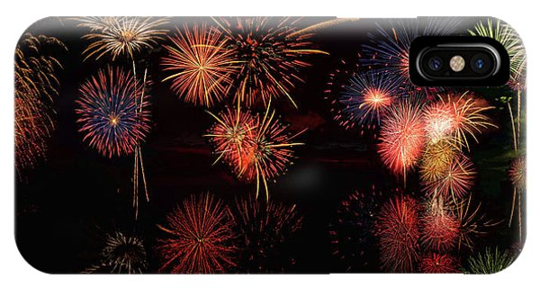 IPhone Case featuring the digital art Fireworks Reflection Panorama by OLena Art Brand