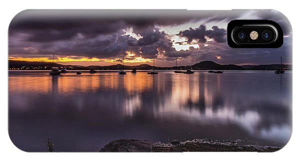 First Light With Heavy Rain Clouds On The Bay IPhone Case