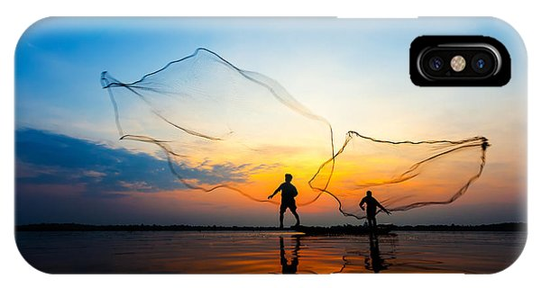 Fishermans In Action When Fishing At Phone Case by Twstock