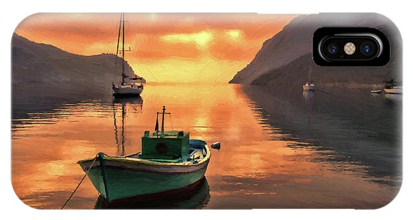 Fishing Boats At Sunset Simi Greek Islands-dwp40406001 IPhone Case