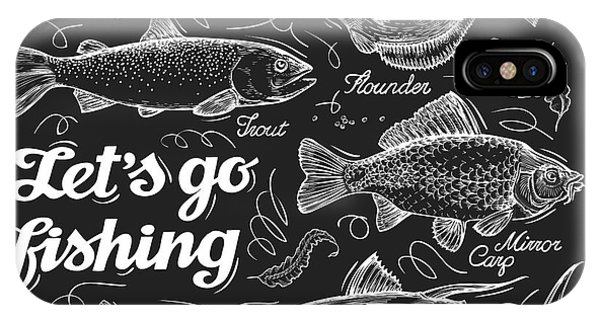 Fisherman iPhone Case - Fishing. Hand Drawn Sketch Fish by Ava Bitter