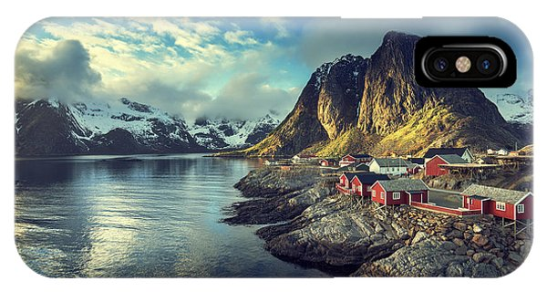 Fishing Boat iPhone Case - Fishing Hut At Spring Sunset - Reine by Esb Professional