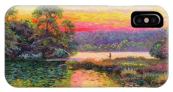 Oklahoma iPhone Case - Fishing In Evening Glow by Jane Small