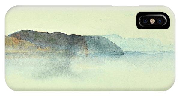 Fiske I Morgondis Hunnebo Vaestkusten   Fishing In Morning Haze Hunnebo Swedish Archipelago 76x73cm  IPhone Case
