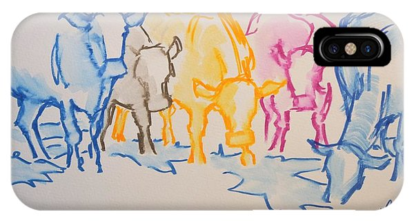 Five Cows Five Colors Watercolor Line Drawing IPhone Case