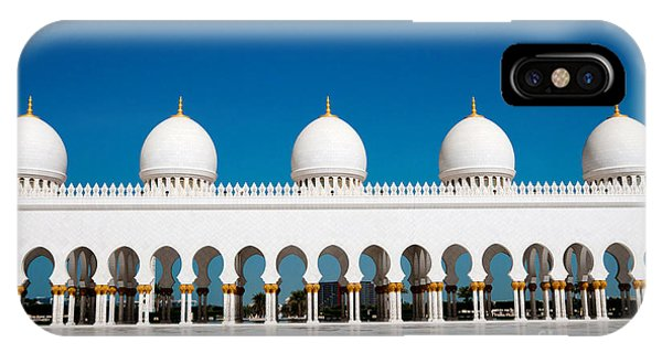 Old Building iPhone Case - Five Domes Of Sheikh Zayed Mosque In by In Green