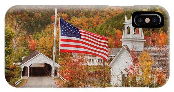 Flag Flying Over The Stark Covered Bridge IPhone Case