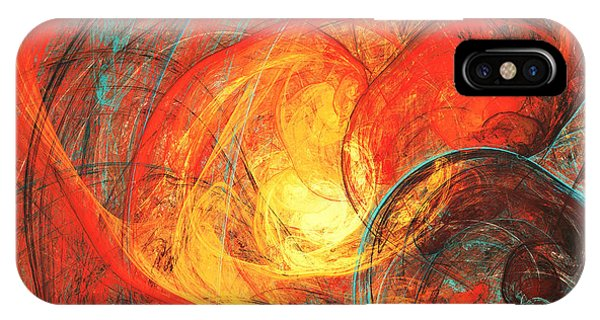 Heat iPhone Case - Flaming Sun. Abstract Painting Texture by Excellent Backgrounds