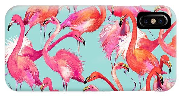 Parrots iPhone Case - Flamingo Birds Seamless Background by Faenkova Elena