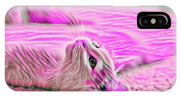 IPhone Case featuring the digital art Flat Cat Pink by Don Northup