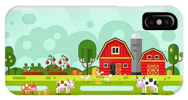 Bed iPhone Case - Flat Design Vector Rural Landscape by Milkym