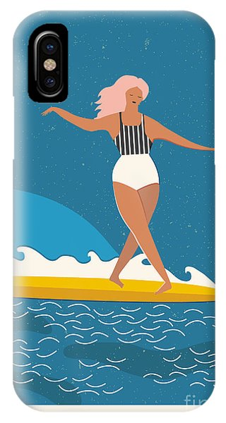 Surfboard iPhone Case - Flat Illustration With Surfer Girl On A by Nicetoseeya