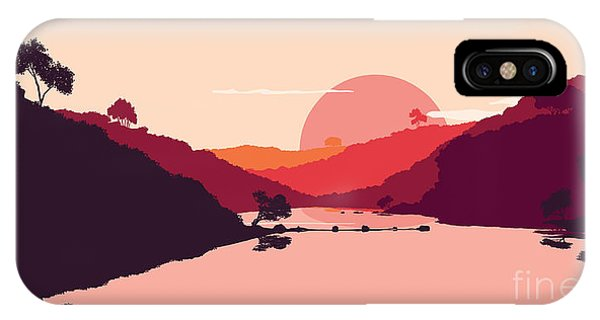 Harmony iPhone Case - Flat Landscape Of Mountain, Lake And by Miomart