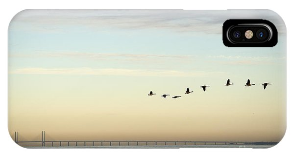 Serenity iPhone Case - Flock Of Birds Flying Near Bridge by Bmj