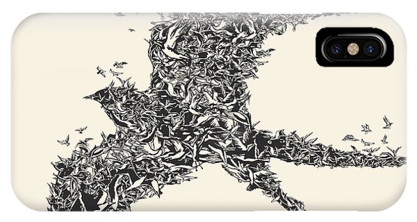 Ink iPhone Case - Flock Of Birds In Bird Formation by Ryger