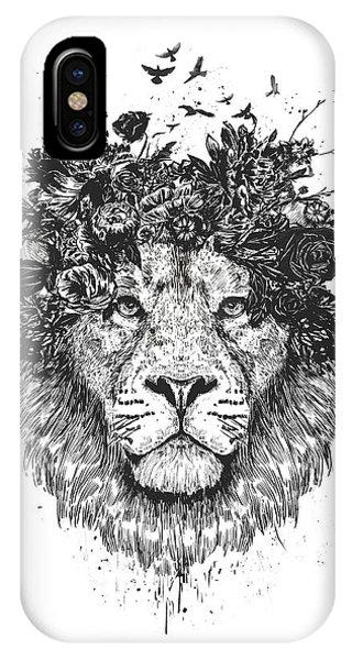Illustration iPhone Case - Floral Lion by Balazs Solti