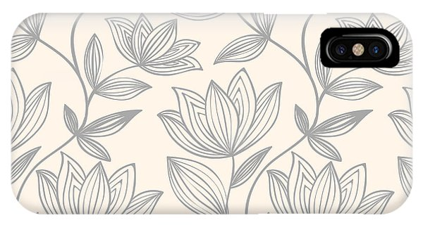 Grey Background iPhone Case - Floral Seamless Pattern Can Be Used For by Mespilia