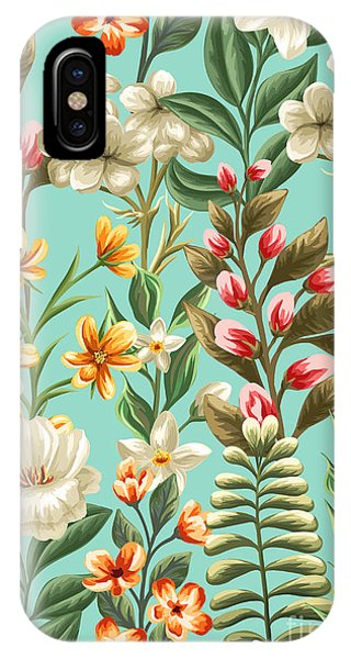 Peony iPhone Case - Floral Seamless Pattern With Flowers by Hoverfly