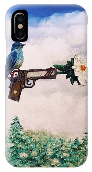 Flower In A Gun- Bluebird Of Happiness IPhone Case