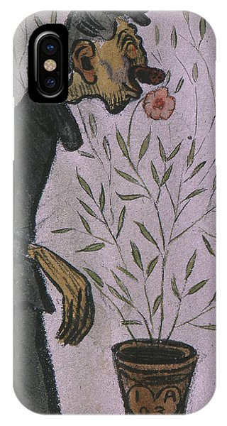 IPhone Case featuring the drawing Flower Sniffer  by Ivar Arosenius