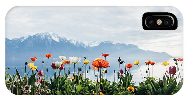 Alive iPhone Case - Flowers By The Lake In Montreux by Natchapnc