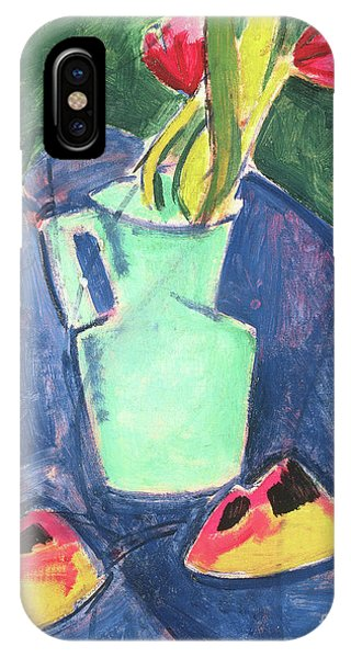 Fauvism iPhone Case - Flowers In A Green Vase On Purple Cloth by Alfred Henry Maurer