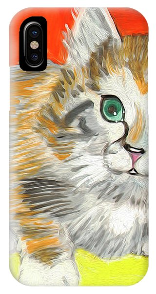 IPhone Case featuring the painting Fluffy Kitten by Dobrotsvet Art