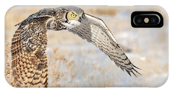 Flying Great Horned Owl IPhone Case