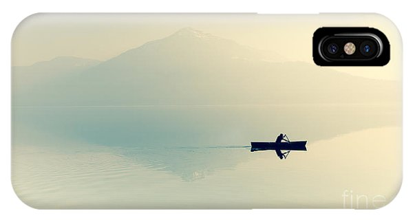 Fog Over The Lake. Silhouette Of Phone Case by Maryna Patzen